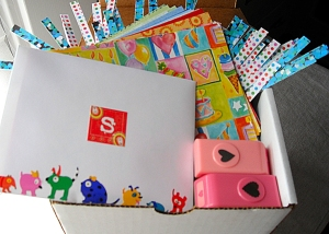Birthday box filled with cool paper craft supplies