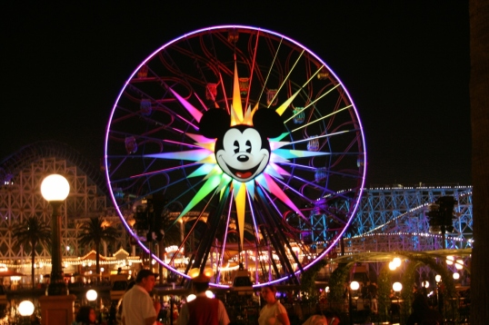 The illuminated ferris wheel at Paradise Pier