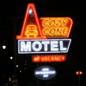 Cozy Cone Motel at night
