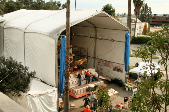The massive temporary structure that houses the South Pasadena float