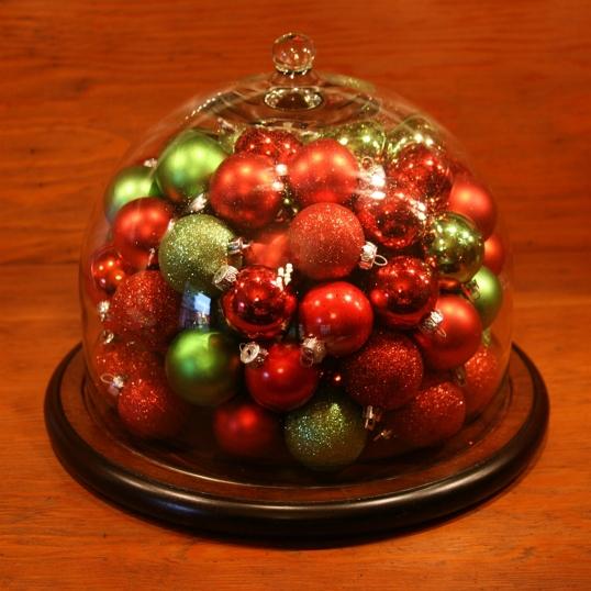 Ornament-filled cloche