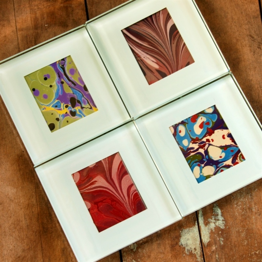 Coasters with marbled paper