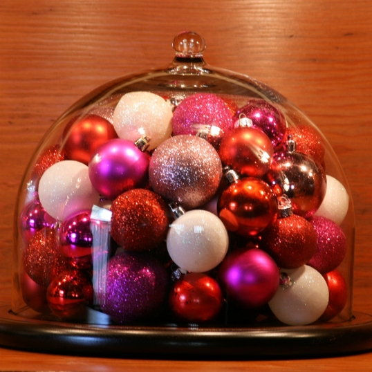 Ornament-filled cloche for Valentine's Day