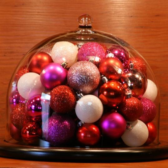 Ornament-filled cloche for Valentine's Day