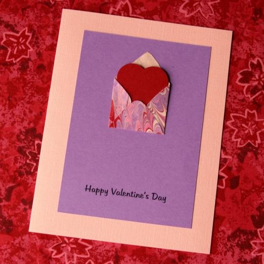 Marbled Valentine's Day card