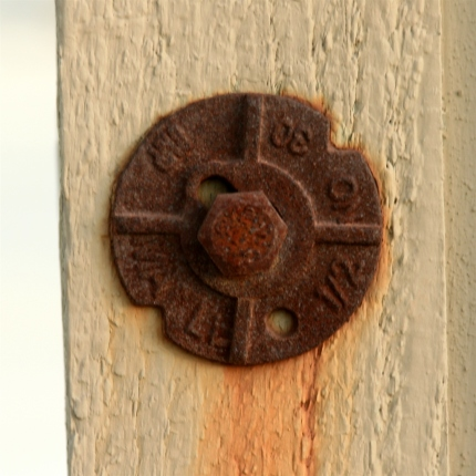 A rusted rivet near City Hall in Old Town Temecula
