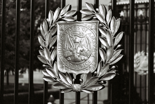 Various emblems can be found on the gates at Arlington Cemetery.