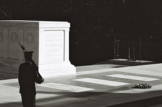 The Tomb of the Unknown Soldier stands atop a hill overlooking Washington, D.C.