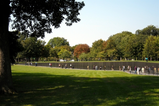 The Vietnam Veterans Memorial is submerged into the ground so it is one with the earth.
