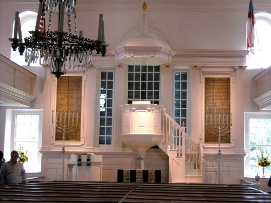The wineglass pulpit, which was installed during the 1890's restoration is consistent with the design, location, and liturgical practices of the church when the church was built.