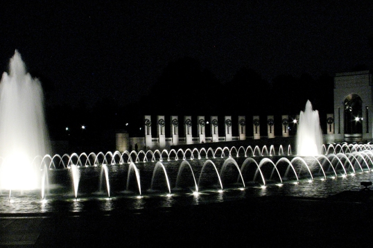 The fountain at the World War II Memorial in all its glowing glory.