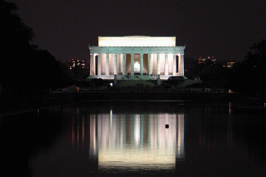 Lincoln Memorial reflected in the Reflecting Pool.