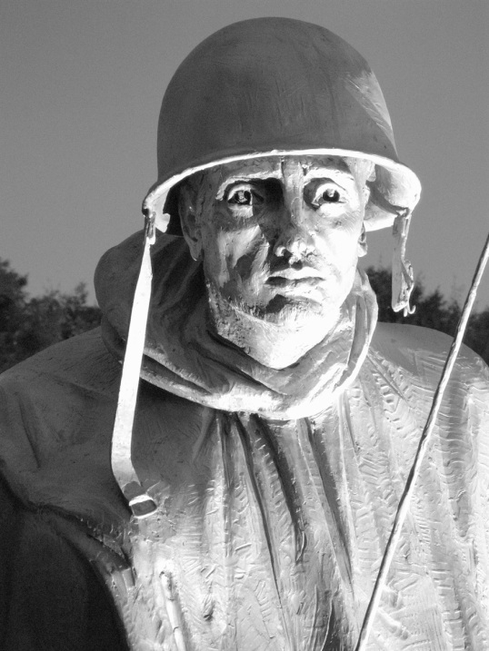 A soldier featured in the Korean War Memorial.