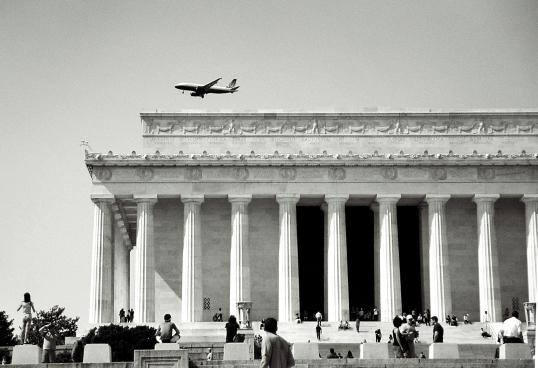A flyover of the Lincoln Memorial.