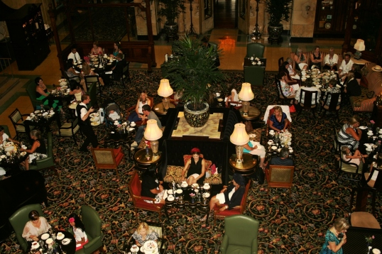 Looking down in the Atrium as it is set for Atrium High Tea.