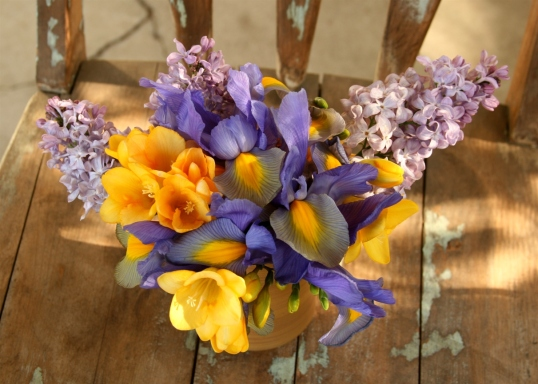Gorgeous purple and yellow floral arrangement