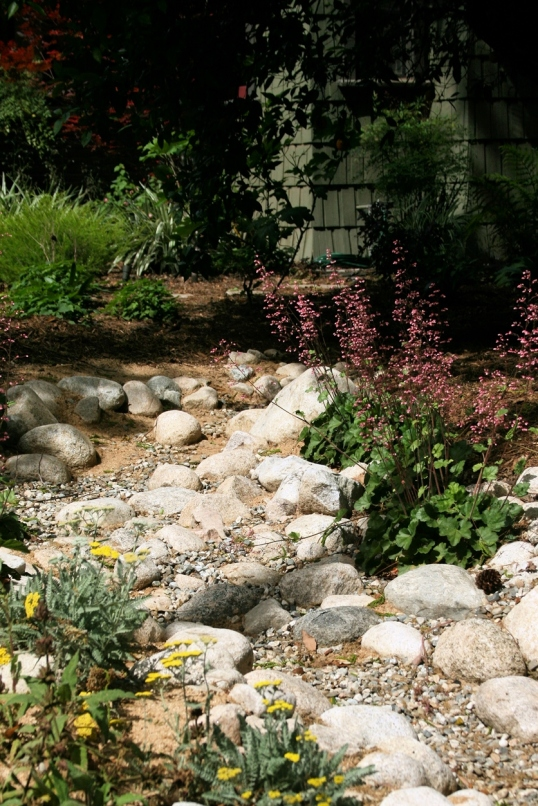 A dry river bed was an unexpected surprise in this front yard.