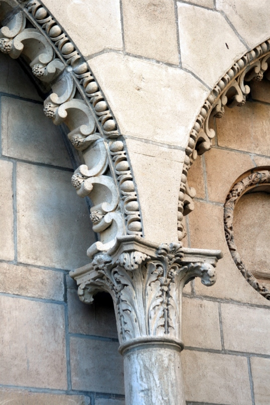 The back side of the castle isn't as ornate as the front, but found this beautifully sculpted arch.