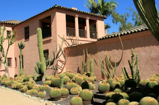Among the first changes Madame Walska made after purchasing Lotusland in 1941 was to add cactus, succulent, and euphorbia plantings to beds in front of her new residence.