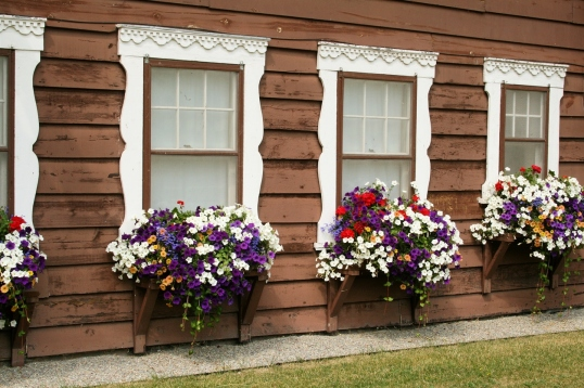 The flower boxes add beauty and color to the hotel exterior.